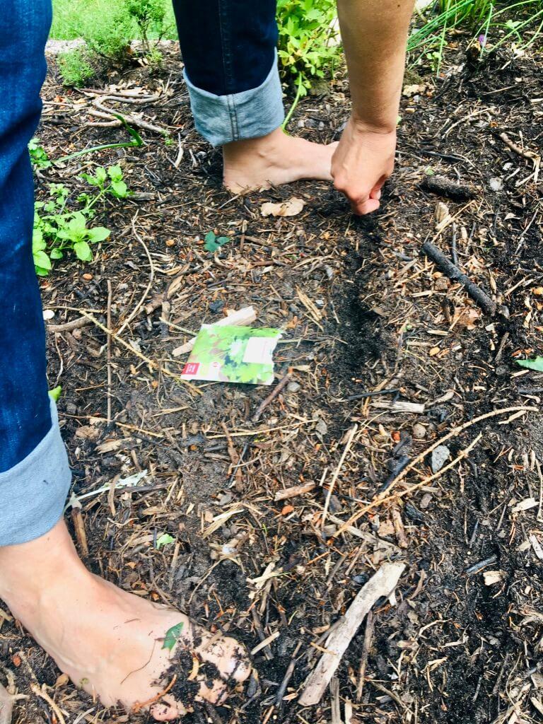 Anja Dalby: Alt hvad du gør har en betydning. Anja står med bare fødder i et bed og planter frø.