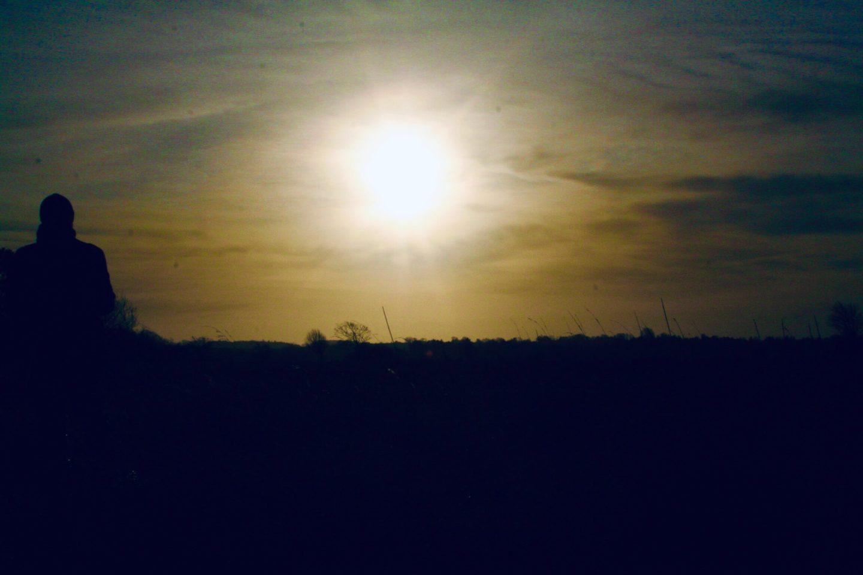 Et glimt fra solnedgangen fra udesidning i skoven